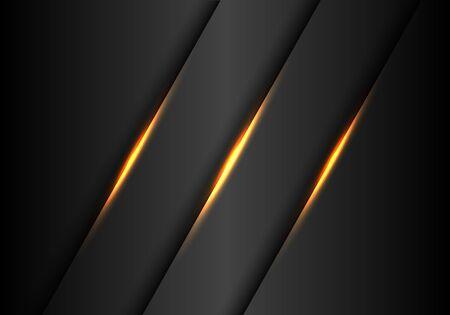Abstract gold lights slash on dark grey metallic design modern luxury futuristic background vector illustration.