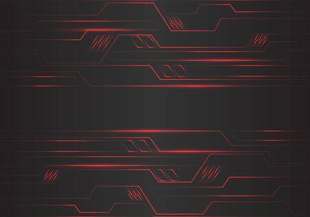 Le linee luminose geometriche del poligono del circuito rosso astratto alimentano l'energia sull'illustrazione futuristica moderna di vettore del fondo di tecnologia di progettazione nera. Vettoriali