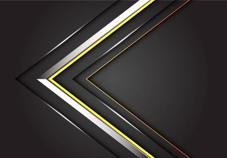 Abstract silver yellow line arrow direction on dark grey design modern luxury futuristic background vector illustration.