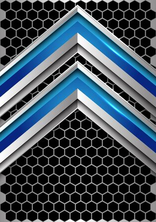 Abstract blue silver arrow direction on dark metallic hexagon mesh design modern futuristic technology background vector illustration.