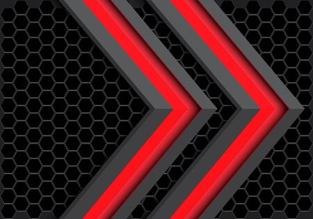 Abstract twin red grey arrow direction on dark hexagon mesh pattern design modern futuristic technology background vector illustration.