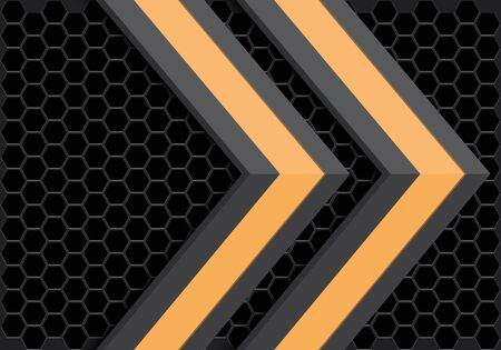 Abstract yellow grey arrow direction on dark hexagon mesh pattern design modern futuristic technology background vector illustration.