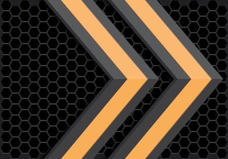 Direction abstraite de la flèche grise jaune sur la conception de modèle de maille hexagonale sombre technologie futuriste moderne illustration vectorielle de fond.