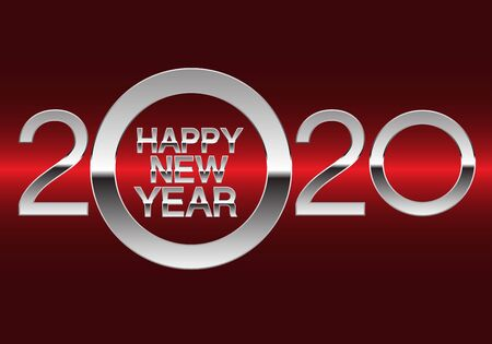 Happy New Year 2020 silver on red light design luxury holiday countdown celebration night party vector illustration.