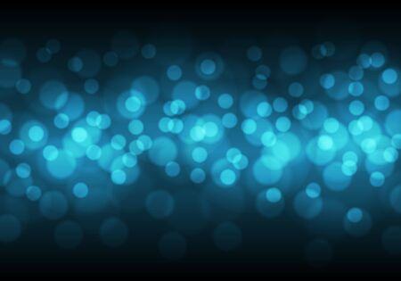 Abstract blue bokeh light on black night background vector illustration.