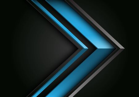 Abstract blue grey line arrow 3D direction on black design modern futuristic background vector illustration.