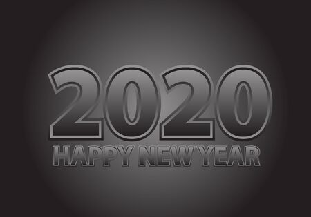 Happy New Year 2020 grey tone number text design for holiday countdown festival celebration party vector illustration.