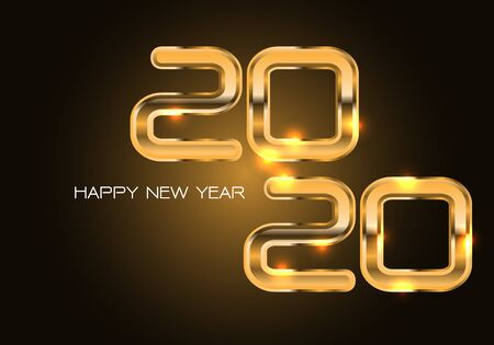 Happy New Year 2020 gold number luxury on dark background design for holiday countdown festival celebration party vector illustration. 일러스트