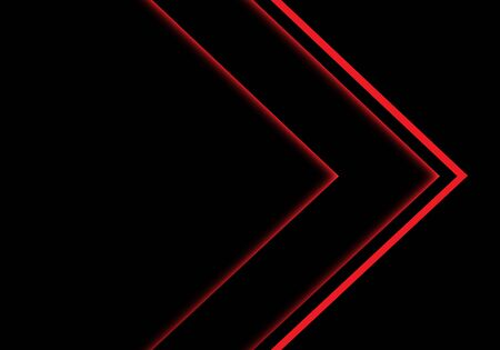 Abstract red light neon arrow direction on black blank space design modern futuristic technology background vector illustration. 일러스트