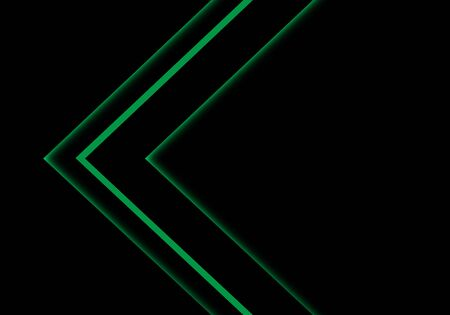Abstract green light neon arrow direction on black blank space design modern futuristic technology background vector illustration.