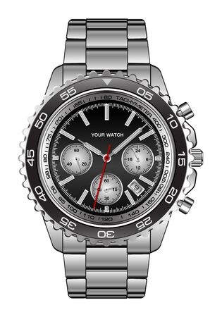 Realistic wristwatch steel black design for men luxury on white background vector illustration.
