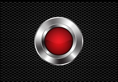 Abstract red silver button circle power on dark metallic hexagon mesh design modern futuristic background vector illustration. 일러스트