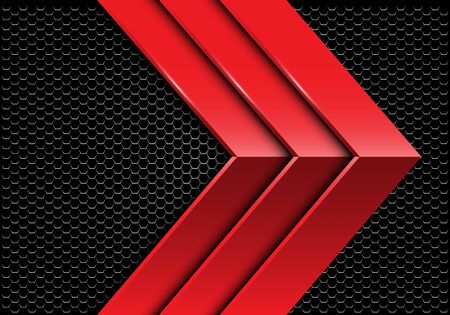 Abstract triple red metallic arrow direction on dark hexagon mesh design modern futuristic background vector illustration.