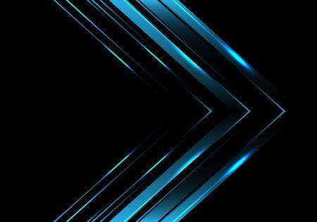 Dirección de la flecha metálica azul abstracta en la ilustración de vector de fondo futurista moderno de diseño de lujo negro.