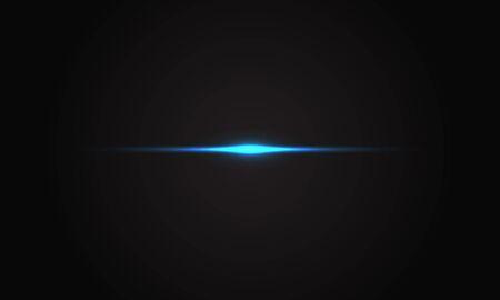 Effet de lumière bleue abstraite flare sur illustration vectorielle de fond noir luxe.