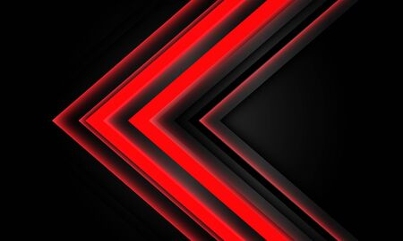 Abstract red neon arrow light direction on black design modern futuristic technology background vector illustration.