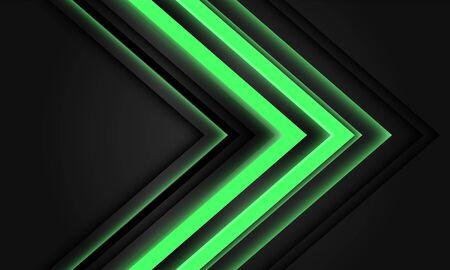 Abstract green neon arrow light direction on black design modern futuristic technology background vector illustration. Ilustração