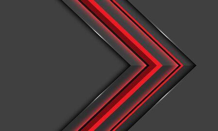 Abstract red light arrow direction on dark design modern luxury futuristic background vector illustration.