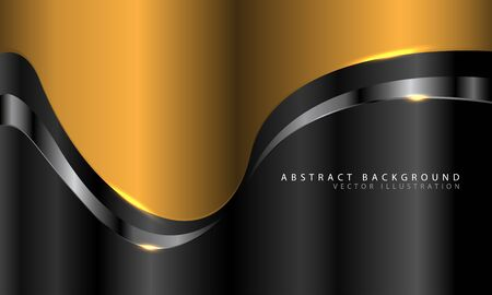 Abstract gold curve with silver line on dark grey design modern luxury futuristic background vector illustration.