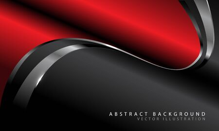 Abstract red metallic curve with silver line on dark grey design modern luxury futuristic background vector illustration.