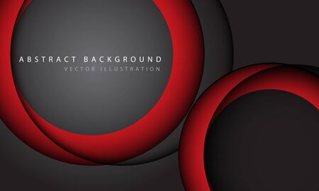 Abstract red circle overlap shadow on grey with simple text design modern futuristic background vector illustration. Ilustração