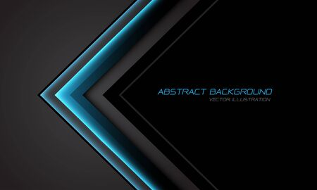 Abstract blue metallic arrow direction on grey with black blank space design modern futuristic technology background vector illustration.