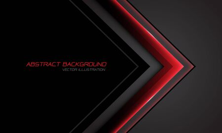 Abstract red metallic arrow direction on grey with black blank space design modern futuristic technology background vector illustration.