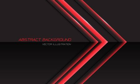 Abstract red light arrow direction on black metallic with simple text design modern futuristic luxury technology background vector illustration. Ilustração