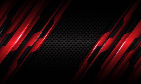 Abstract red circuit metallic pattern and dark grey circle mesh design modern futuristic technology background texture vector illustration. Ilustração