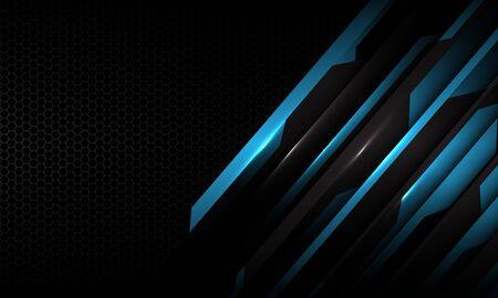 Abstract blue circuit metallic pattern on dark grey hexagon mesh pattern with blank space design modern futuristic technology background texture vector illustration.