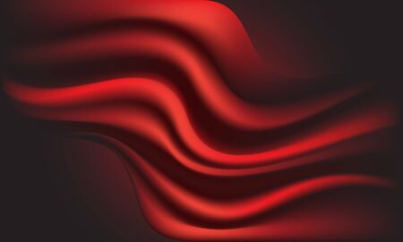 Abstract red fabric wave on dark background texture vector illustration.