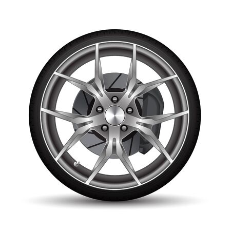 Realistic car wheel alloy black tire with disk brake on white background vector illustration.