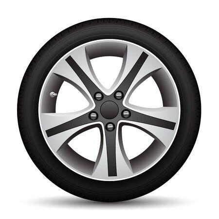 Realistic car wheel alloy black tire on white background vector illustration. Ilustração