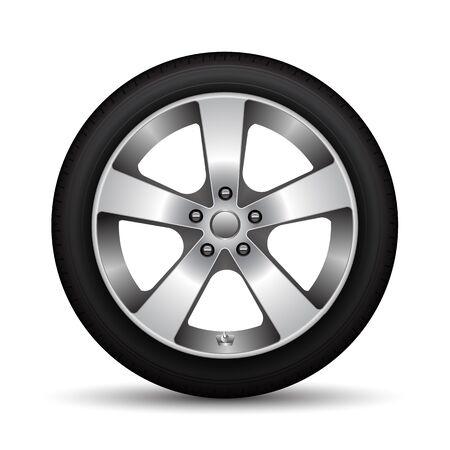 Realistischer schwarzer Reifen der Autoradlegierung auf weißer Hintergrundvektorillustration. Vektorgrafik