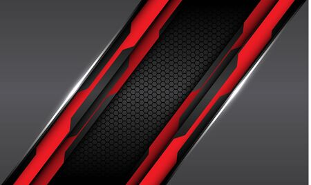 Abstract red black circuit line on grey metallic with dark hexagon mesh pattern design modern futuristic technology style background vector illustration.