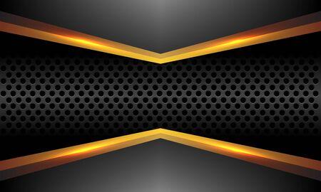 Abstract gold line arrow on grey metallic with dark grey circle mesh design modern luxury futuristic style background vector illustration. Ilustração