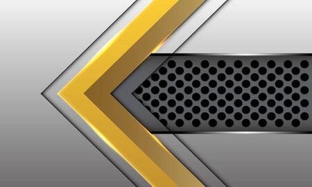 Abstract gold arrow direction on silver  with grey circle mesh pattern design modern luxury futuristic technology style background vector illustration. Ilustração