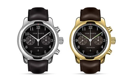 Realistic clock watch chronograph gold and silver leather strap collection luxury isolated vector illustration.