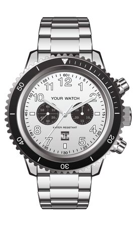 Realistic watch clock chronograph stainless steel on white background vector illustration. Ilustração