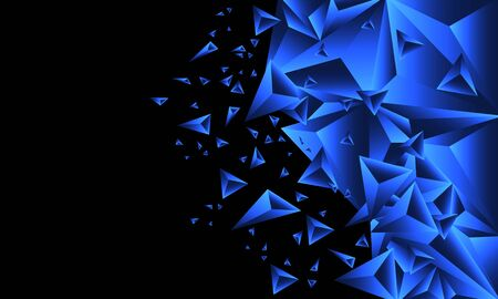 Abstract blue glossy triangle polygon geometric on black blank space design modern futuristic background vector illustration.