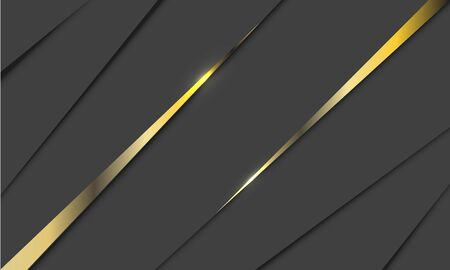 Abstract double gold line glossy triangle on grey design modern luxury background vector illustration.