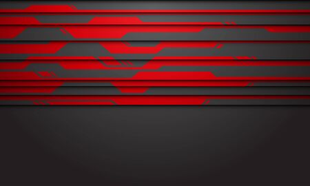 Abstract red circuit line on dark grey with blank space design modern futuristic technology background vector illustration.
