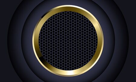Abstract gold circle dark grey hexagon mesh design modern luxury futuristic background vector illustration.
