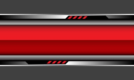 Abstract red glossy banner silver black cyber circuit on grey design modern futuristic background vector illustration. 向量圖像