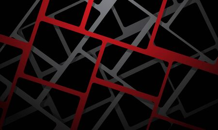 Abstract red grey square mesh cross overlap on black design modern futuristic background vector illustration.