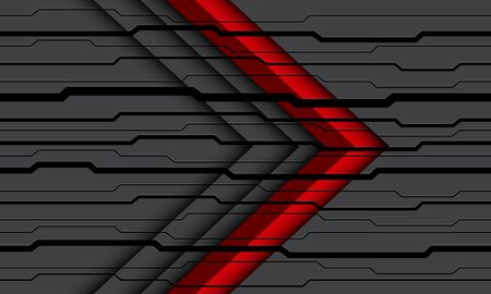 Abstract red arrow direction on grey black circuit cyber pattern design modern futuristic background vector illustration. 向量圖像