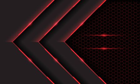 Abstract triple red grey cyber light arrow direction on dark hexagon mesh pattern design modern futuristic technology background vector illustration.