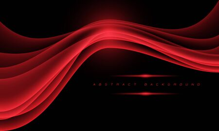 Abstract red wave curve with blank space on black design modern futuristic background vector illustration. 向量圖像