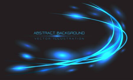 Abstract blue line curve light on black design modern luxury futuristic background vector illustration.