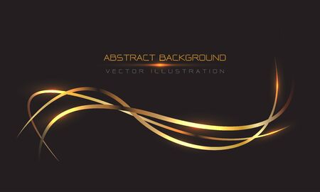 Abstract gold line curve light on black design modern luxury background vector illustration.